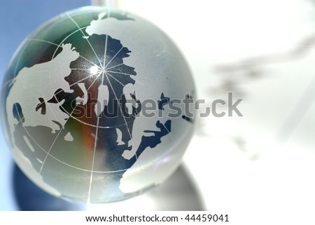 glass globe and international stock markets