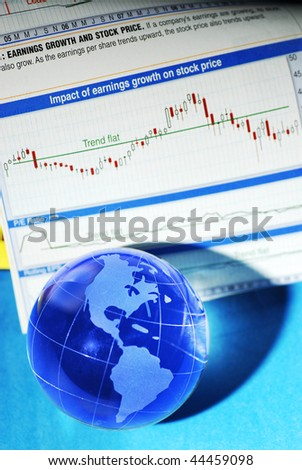 glass globe and international stock markets
