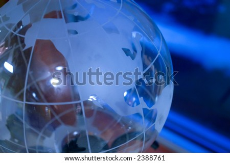 glass globe under blue light