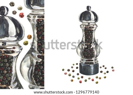 glass grinder pepper mill and peppercorns. watercolor color realistic art. for kitchen design, menus, recipe books. For paintings and posters in retro style in cafes and restaurants