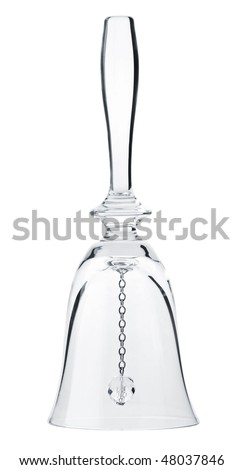 Glass handbell isolated on white by clipping path.