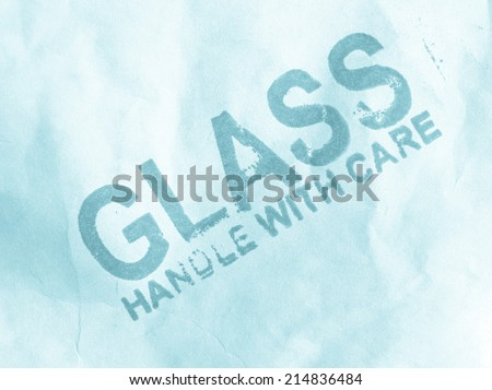 Glass handle with care small packet parcel - cool cyanotype