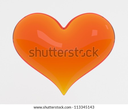 Glass Heart - High quality Render with Clipping Path