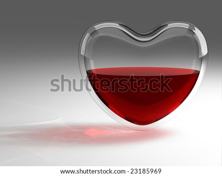 Glass heart with blood