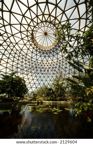 Glass house in botanical garden, Brisbane, Australia - stock photo