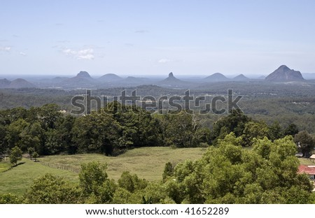 Glass House Mountains in the Sunshine Coast, Australia, viewed from Mary Cairncross Reserve