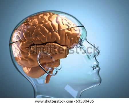 Glass human head with brain - this is a 3d render illustration