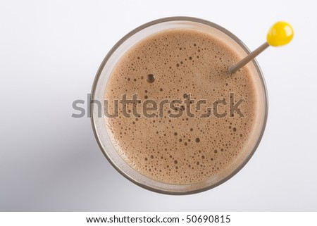 Glass isolated on white with chocolate milkshake