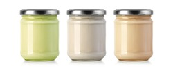 Glass jar can with dairy, dessert, yoghurt, cream, sour cream or sauce isolated on white. Mock Up Template, clipping path
