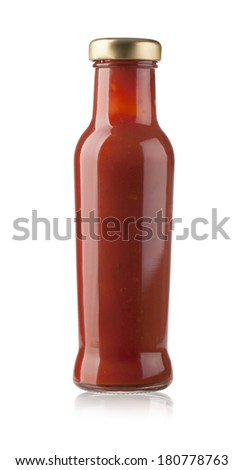 glass jar of hot tomato sauce on a white background. with clipping path