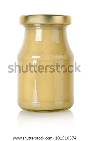 Glass jar of mustard