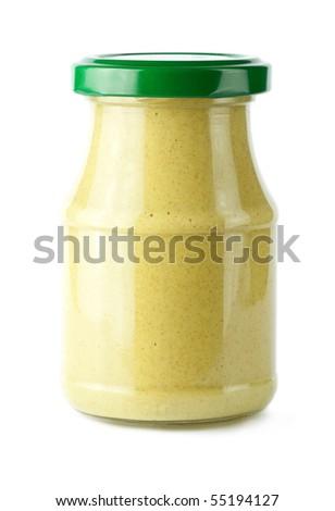 Glass jar of mustard
