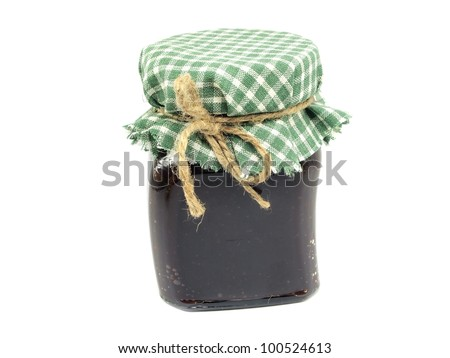 glass jar of plum jam on a white background - stock photo