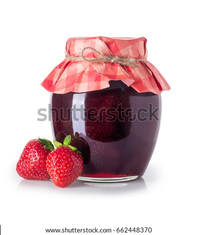 Glass jar of strawberry jam and fresh berries near isolated on white background. Preserved fruits