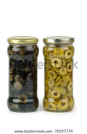 Glass jar with sliced green and black olives  isolated on the white background