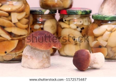 Glass jars with canned mushrooms Boletus edulis, penny bun, king bolete