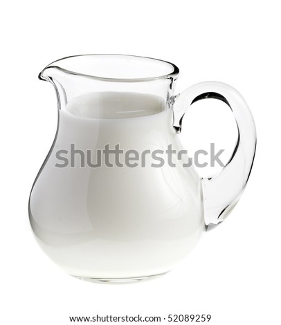 Glass jug pitcher of fresh milk isolated on white background