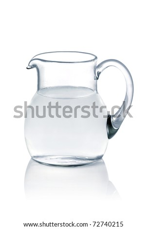 Glass jug with fresh water on white background - stock photo