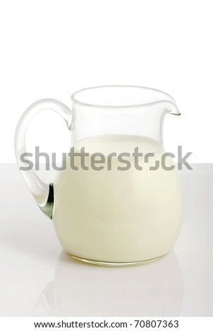Glass jug with milk on white background