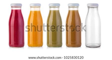 glass juice bottles isolated on white  #1025830120