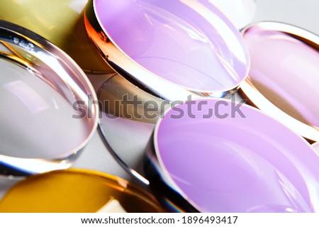 Glass lenses coated glasses optics close-up Foto stock ©