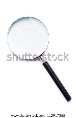 Glass magnifier closeup on white background, isolated