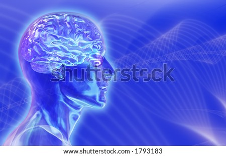 Glass male head with brain on blue 'brainwaves' background.
