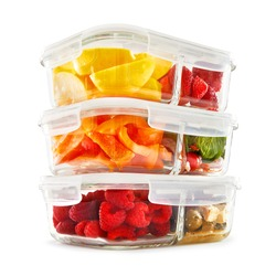 Glass Meal Prep Containers Isolated on White Background. Set of 3.3 Oz Food Storage Containers with 2 Compartment and Vented Lids Filled with Fruits and Vegetables Front Side View