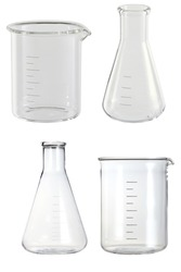 glass medical and chemical flasks isolated on white background