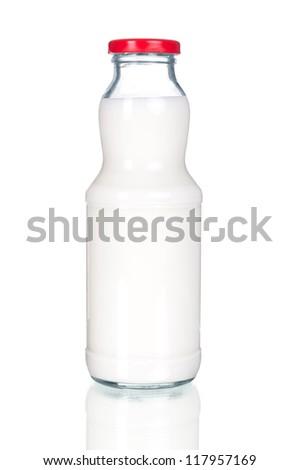 glass milk bottle isolated on white background