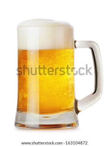 glass mug with beer isolated on ...