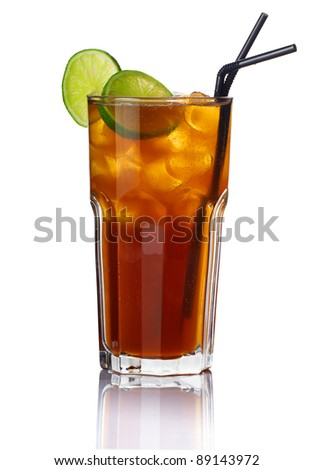 Glass of alcohol cocktail with lime isolated on white background