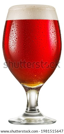 Glass of amber ale or red beer with water drops on cold glass surface isolated on white background. File contains clipping path. Stockfoto ©