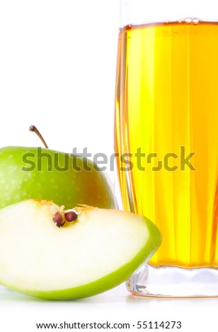 glass of apple juice and green apples isolated on white - stock photo