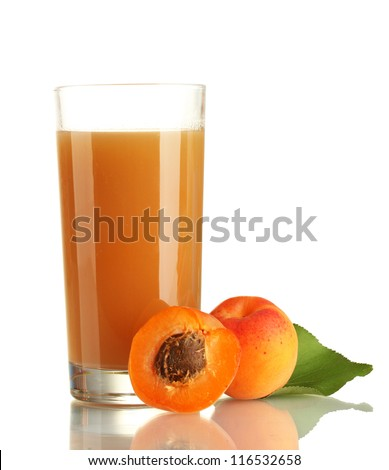 glass of apricot juice and apricots with leaf isolated on white