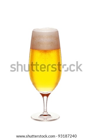 Glass of beer close-up with froth on white - stock photo