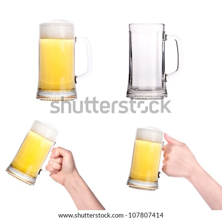 glass of beer collection isolated. Full,empty,with hand on a white background.making toast