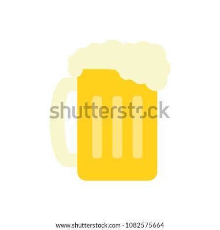Glass of beer flat beverage alcohol raster icon illustration