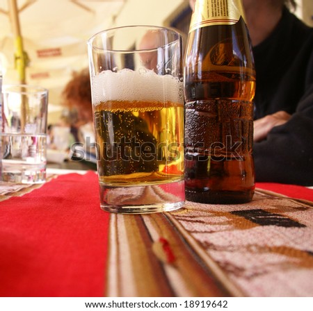 Glass of beer in outdoor caf?, 		Lima,	Peru, South America