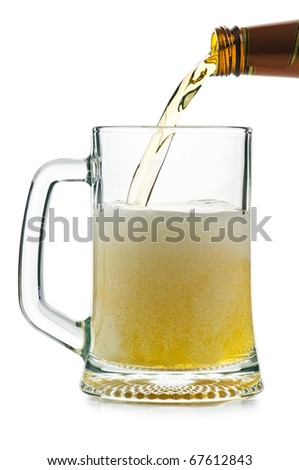 glass of beer isolated on white