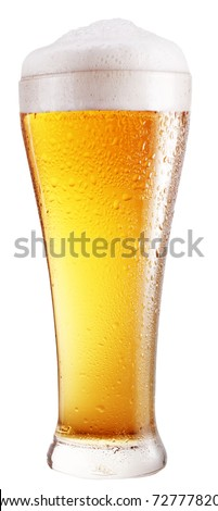 Glass of beer on a white background. With Clipping Path. - stock photo