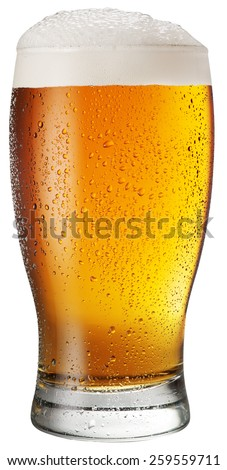 Glass of beer on white background. File contains clipping paths.