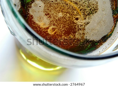 Glass of beer, view from above, close-up