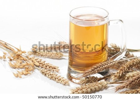 Glass of beer with grain