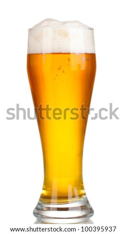 Glass of beer with isolated on white