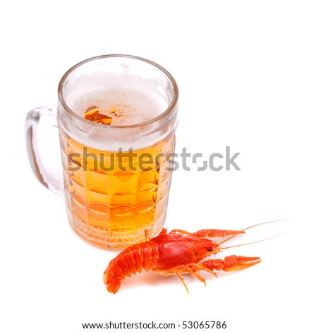 Glass of beer with lobster on white