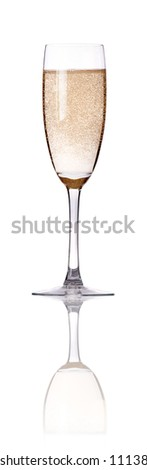 glass of champagne flutes isolated on a white background
