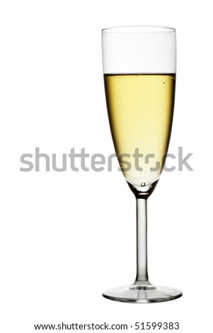 Glass of champagne isolated over white background
