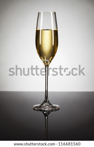glass of champagne on a mirror with spot in background