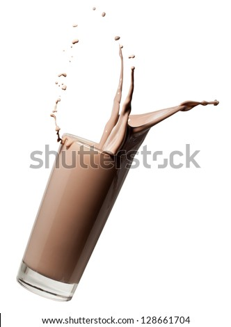 glass of chocolate milk or milkshake falling and making a splash, isolated on white background